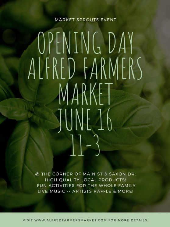 OPENING DAY ALFRED FARMERS MARKET JUNE 16
